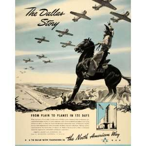 1941 Ad North American Aviation Dallas TX Cowboy Horse