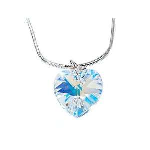 Handmade Swarovski Crystal & Silver Heart Pendant. Handcrafted in the