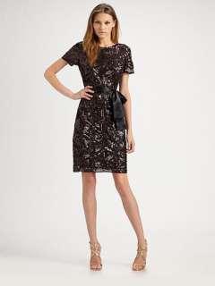 NEW AIDAN MATTOX Sequined Short Sleeve DRESS $385 4