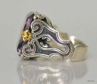 Exquisite New KONSTANTINO Sterling Silver 18K Gold Amethyst Solitaire