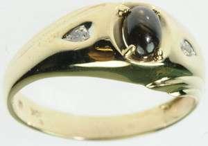 MENS 10K SOLID YELLOW GOLD DIAMOND TIGERS EYE GEMSTONE ESTATE RING