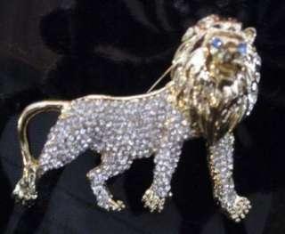 HUGE 3 GOLD TONE RUNWAY RHINESTONE MANED LION PIN BROOCH FREE