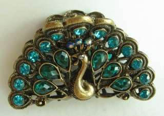 COLORS SWAROVSKI CRYSTAL BIG BRONZE PEACOCK HAIR CLAW CLIP 248