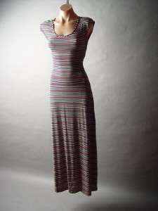 Back Strong Shoulder Colorful Pastel Stripe Long Maxi Dress M