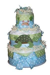 New Blue and Green Under Sea Turtle Baby Boys Diaper Cake Shower