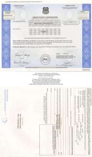 Union Pacific Railroad  collectible stock certificate