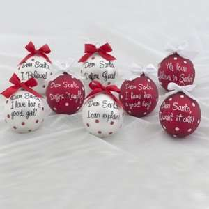 Set of 8 Santa Claus Phrase Glass Christmas Ornaments 80mm