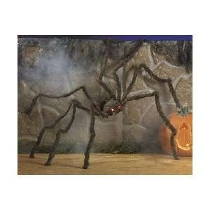GIANT HALLOWEEN HAIRY SPIDER DECORATION   LED LIGHT UP RED EYES   HUGE