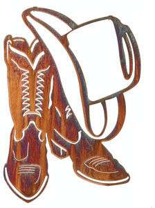 WESTERN COWBOY BOOTS COWBOY HAT METAL ART WALL HANGING |