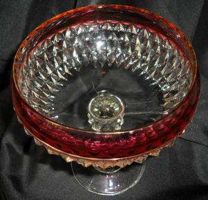 Indiana Glass Diamond Point Ruby Flash Band Ftd Compote