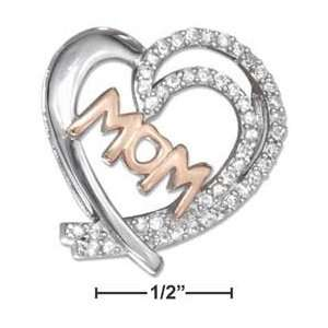 SILVER OPEN HEART SLIDE PENDANT WITH ROSE GOLD PLATED MOM AND CZS