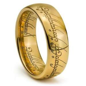 Tungsten Gold LOTR Engraved Ring Jewelry