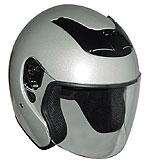 Silver DOT Motorcycle Helmet RK 4 Open Face with Flip Shield   RKS