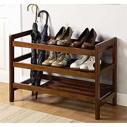 Medium Brown Wood Shoe Rack and Umbrella Stand