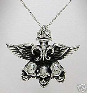 925 Silver Skulls Angel Wings Necklace Harley Jewelry L