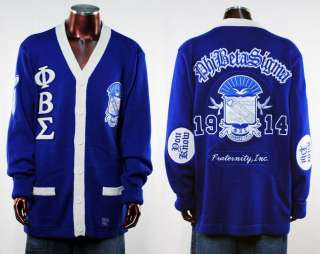 Phi Beta Sigma Mens Blue long sleeve Cardigan sweater