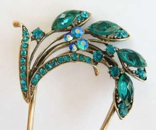 SWAROVSKI CRYSTAL BRONZE FLORAL HAIR STICK PIN PICK 456 VINTAGE