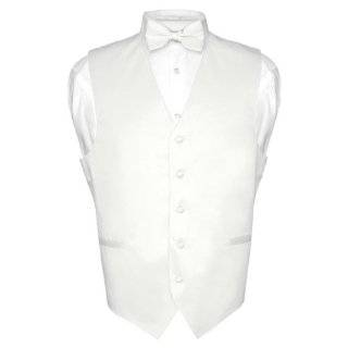 Mens WHITE Dress Vest and NeckTie Set for Suit or Tuxedo