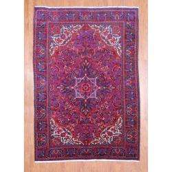 Persian Hand knotted Heriz Red/ Purple Wool Rug (68 x 98