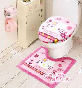 Hello Kitty Bathroom Toilet lid Seat Commode Cover Mat Rug Sets