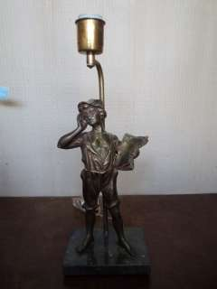 Great antique French spelter boy table lamp # 07240