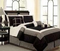 NEW Bed In A Bag BLACK/WHITE/GRAY Hampton Comforter Set Queen,Cal King