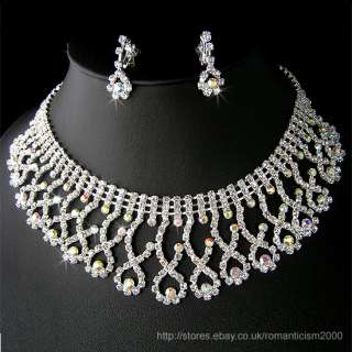 Wedding/Bridal crystal necklace earrings set S150
