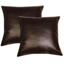 Dark Brown Faux Leather Accent Pillows (Set of 2)