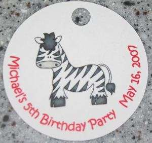 20 Personalized Zoo Zebra Favor Gift Tags Birthday