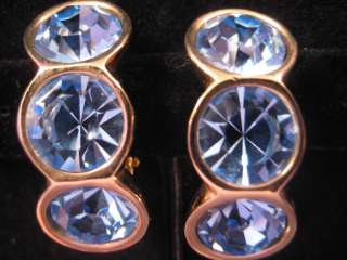 VINTAGE SWAROVSKI BLUE CRYSTAL CLIP EARRINGS SIGNED S.A.L., SAL