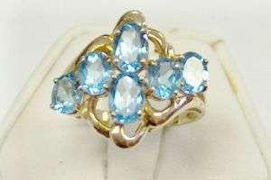 NEW FANCY GENUINE BLUE TOPAZ FREEFORM RING 10KT GOLD