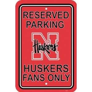 NCAA Nebraska Huskers 12 by 18 inch Plastic Parking Sign