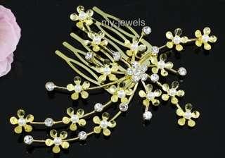 Bridal White Flower Satin Handmade Hair Comb T1335