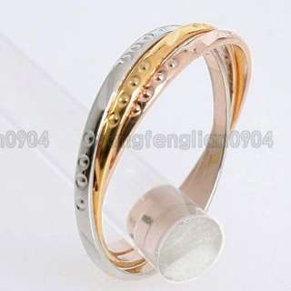 Triple Bands 18K Gold Plated 3 Tone Ring Set 93047