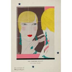1930 Art Deco Color Print Woman Mirror UNUSUAL   Original