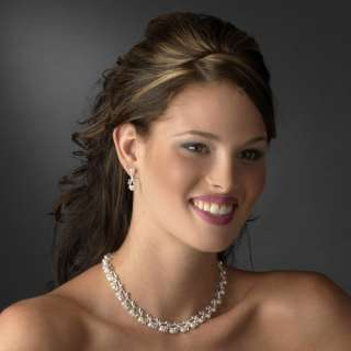 Bridal Wedding Jewelry Set Crystal Rhinestone Pearl Sophisticated
