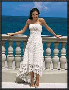 Custom Short Beach Lace Wedding Dress/Bridal Evening Gowns