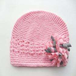 Bow Clippeez 2 Envy Crocheted Pink Hat with Pink and Grey Korker Bow