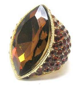 GOLD BROWN RHINESTONE CRYSTAL Chunky Cocktail STRETCH RING