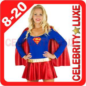 Ladies Superwoman Super Woman Girl Hero Fancy Dress Up Costume