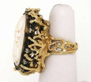 ROBUST 14K GOLD DIAMONDS CARVED CAMEO TOP VINTAGE RING