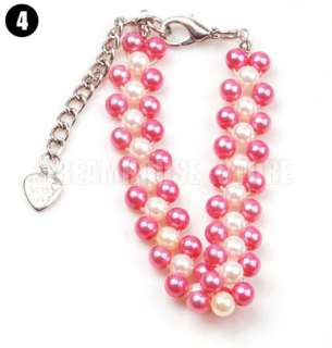 Style Dog Cat Pet Pearls 3 Row Necklace Jewelry S M L