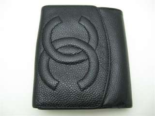 Authentic Chanel Black Caviar Leather Small Wallet