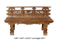 Rustic Flower Carving Wood Double Seat Bench ss795A