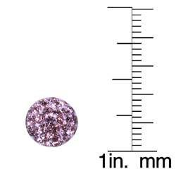 Sterling Silver Purple Crystal Dot Earrings