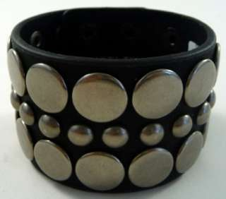 Black Leather Unisex Studded Cuff Punk Bracelet NEW