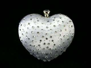 SILVER Love Heart Crystal Wedding Solid Handbag Purse MEC 05257