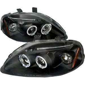 Honda Civic Ex Lx Black Dual Halo Projector Head Lights
