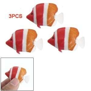 Como Orange Red Stripe Plastic Fish Decor for Tank