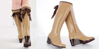 Womens Black Zip Rubber Rain Boots, Wedge Shoes US5~7.5